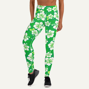 Hawaiian Aloha Pattern Women's High-Waisted Leggings — Green