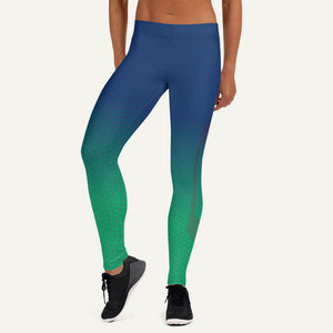 Ombre Hexagon Pattern Leggings — Blue/Teal