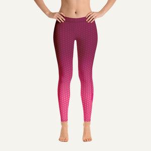 Ombre Hexagon Pattern Leggings — Burgundy/Pink