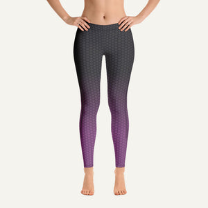 Ombre Hexagon Pattern Leggings — Gray/Purple