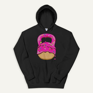 Pink-Glazed Donut With Sprinkles Kettlebell Design Pullover Hoodie