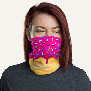 Pink Glazed Donut With Sprinkles Neck Gaiter