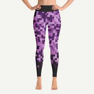Pixelated High-Waisted Leggings — Purple