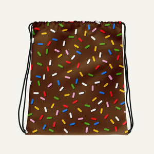 Sprinkles On Chocolate Glazed Donut Drawstring Bag