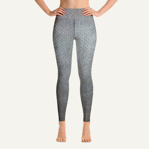 Steel Diamond Plate High-Waisted Leggings