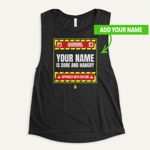 Warning Sore And Hangry Personalized Women's Muscle Tank