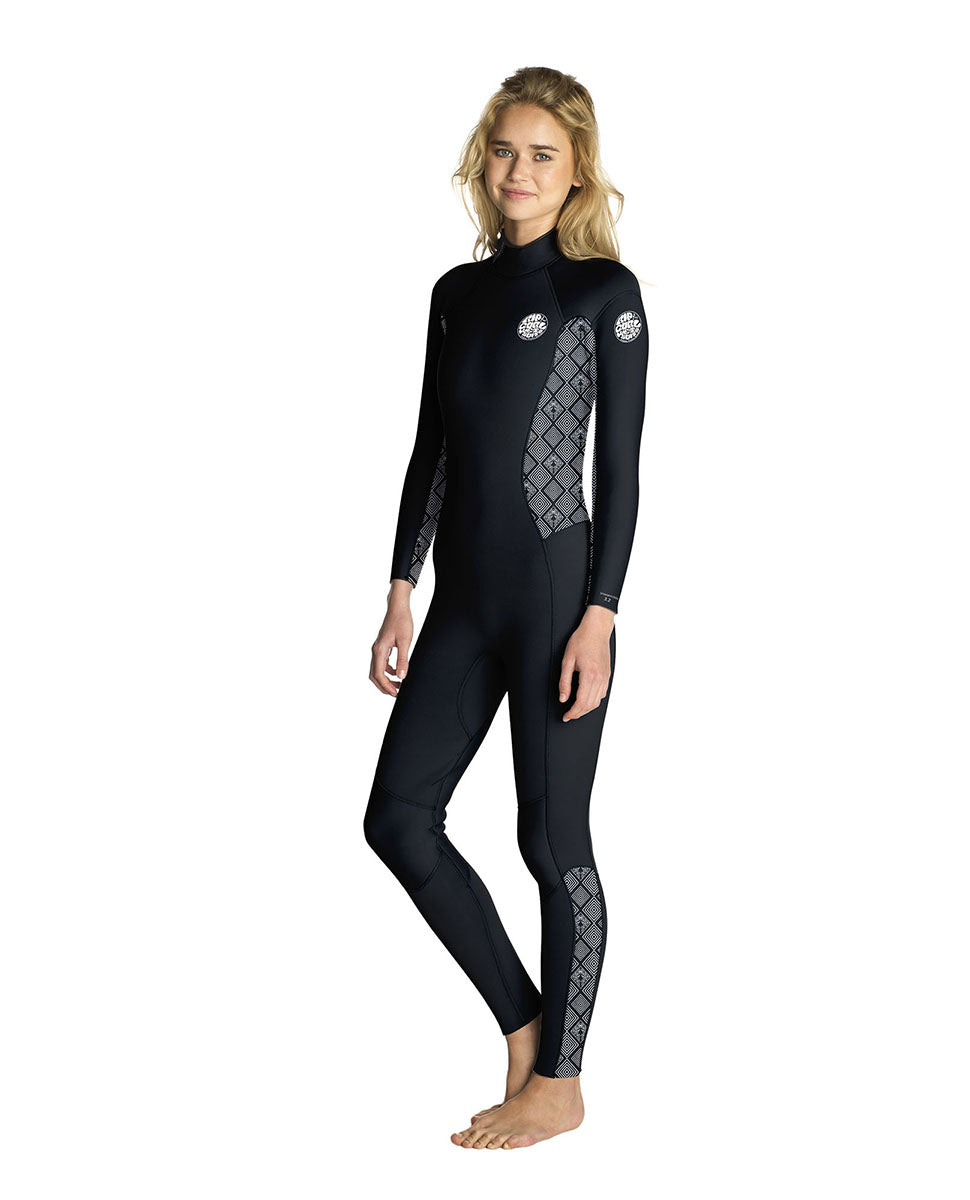 RIP CURL WOMEN DAWN PATROL 4/3 BACK ZIP WETSUIT
