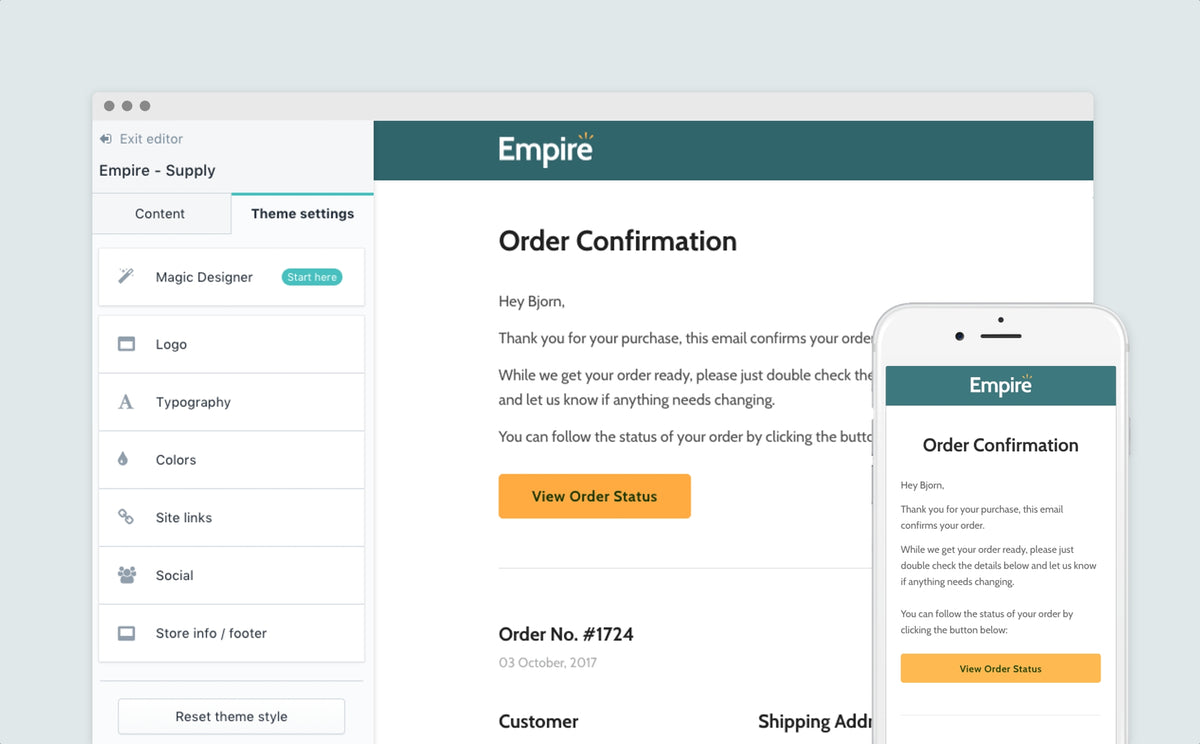Introducing the Empire email templates for Shopify
