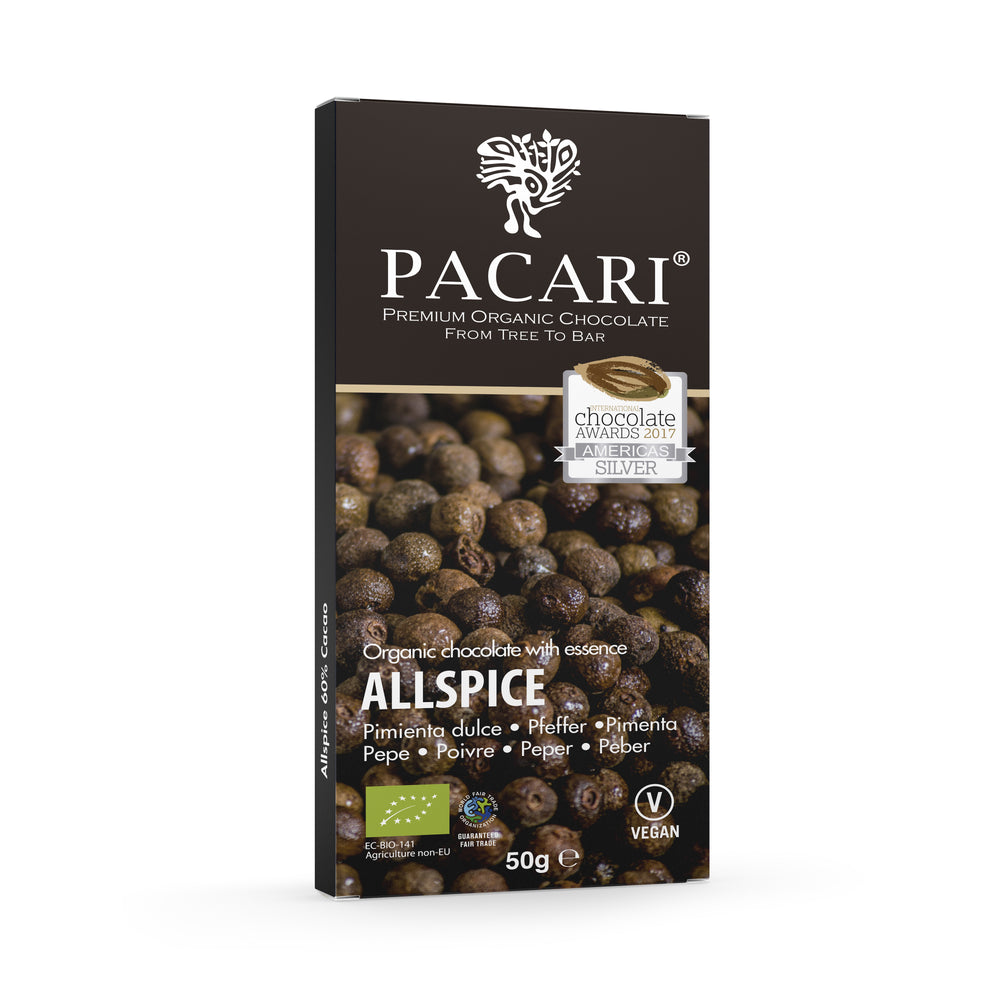 Allspice chocolate bar organic, vegan, palm oil free, soy free, gluten free, kosher.