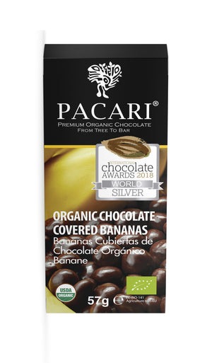 Organic Chocolate Covered Banana, organic, vegan, palm oil free, soy free, gluten free, kosher.