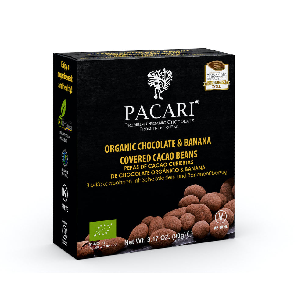Organic Chocolate Covered Cacao Beans Banana