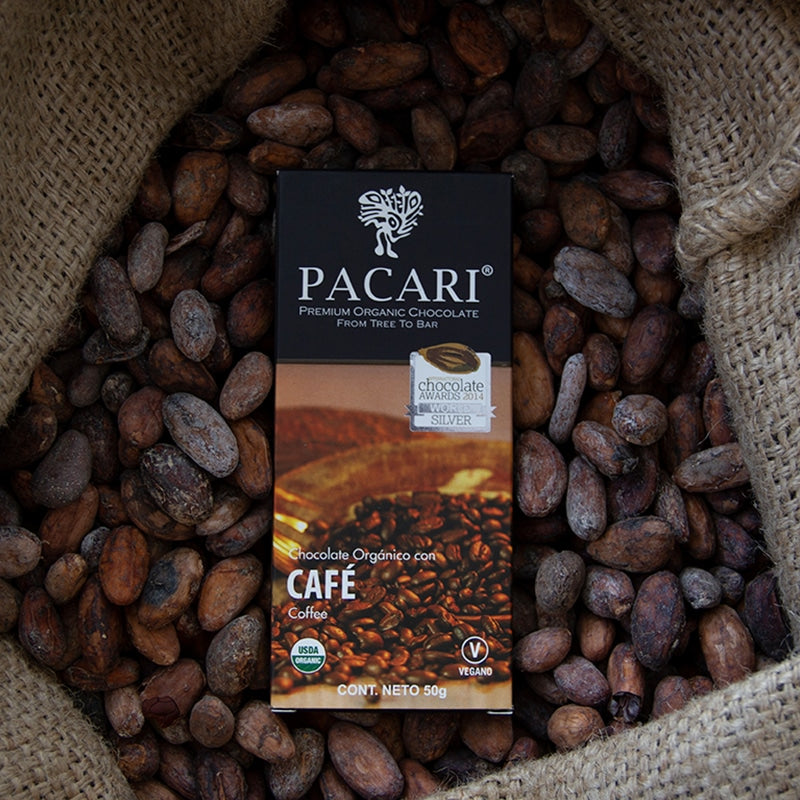 Coffee chocolate bar, organic, vegan, palm oil free, soy free, gluten free, kosher.