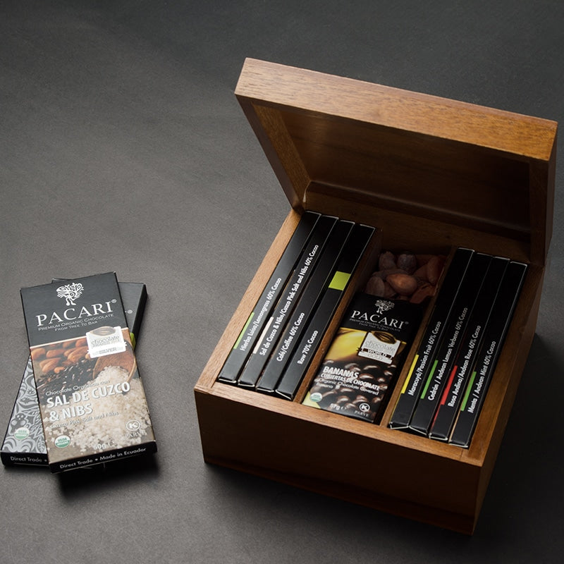 Large DarkChocolate Library in Solid Wood Gift Box, organic, vegan, palm oil free, soy free, gluten free, kosher.