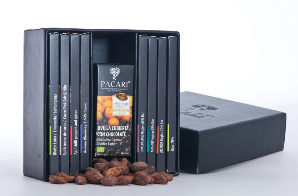 Vegan Leather Gift Box with Organic Chocolates (8 bars + 2 Covered Fruits)