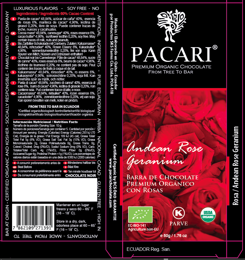 Andean Rose Chocolate Bar with Product Description | Pacari Chocolates