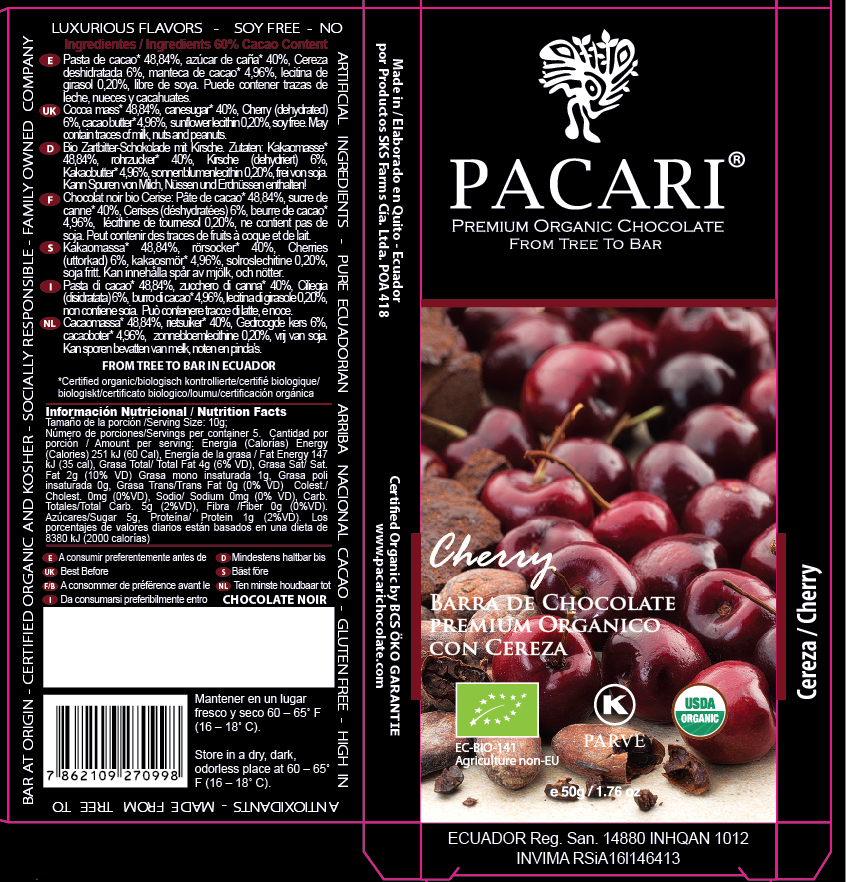 Cherry Dark Chocolate Bar Packaging | Pacari UK