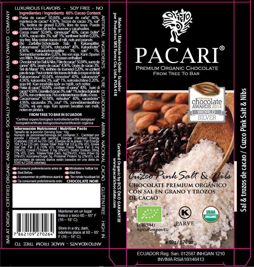 Cuzco Pink Salt and Nibs Chocolate Bar Packaging | Pacari Chocolates