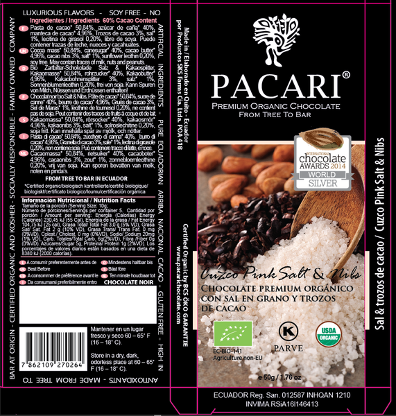 Cuzco Pink Salt & Nibs (60%) Organic Chocolate Bar