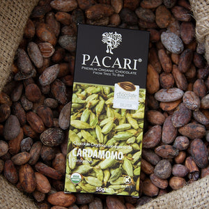 Cardamom chocolate bar, organic, vegan, palm oil free, soy free, gluten free, kosher.