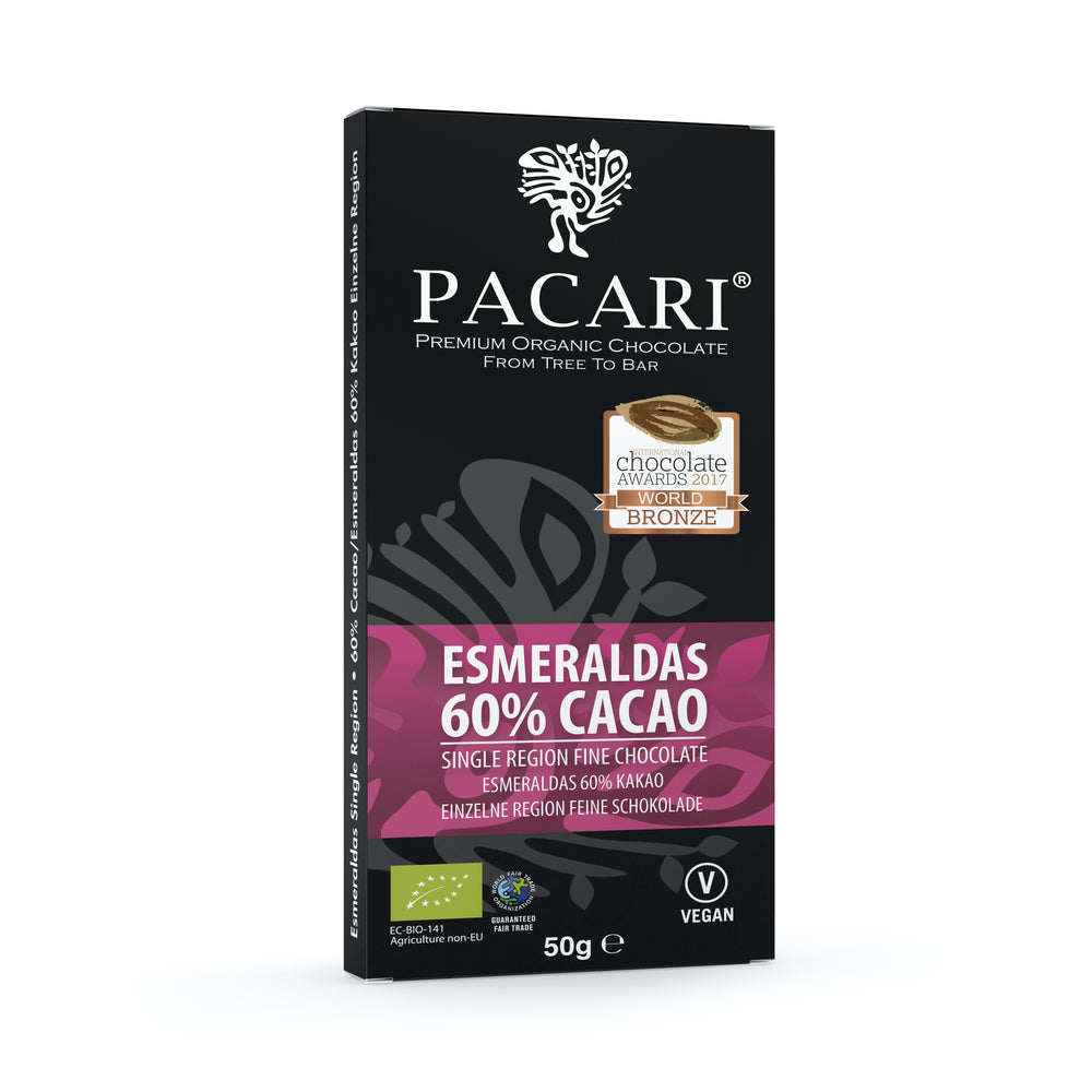 Single origin (region) 60% cacao form Esmeraldas, Ecuador, bronze medal and great taste awards 2016
