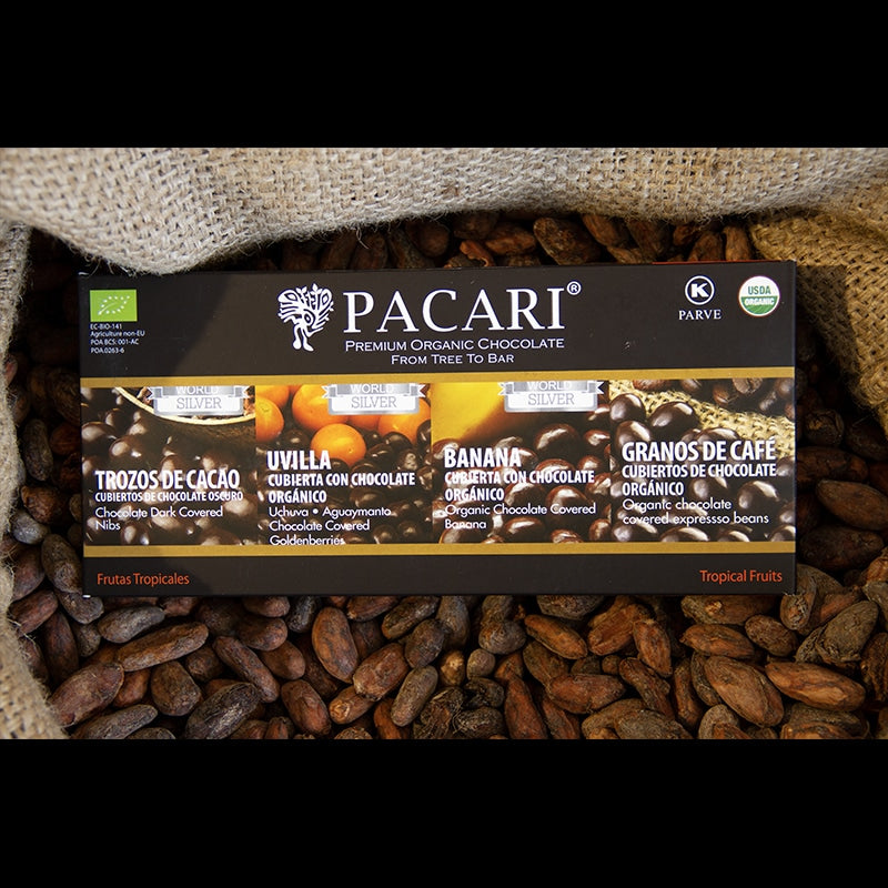 Pacari Chocolate Tropical Fruits Gift Set. Organic, vegan, palm oil free, soy free, gluten free, kosher.