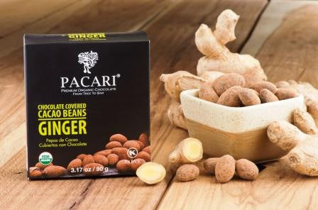 Organic Chocolate Covered Cacao Beans Dusted with Powder - Ginger