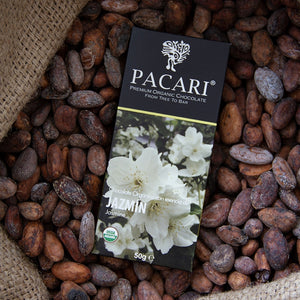 Jasmine chocolate bar, vegan, palm oil free, soy free, gluten free, kosher,