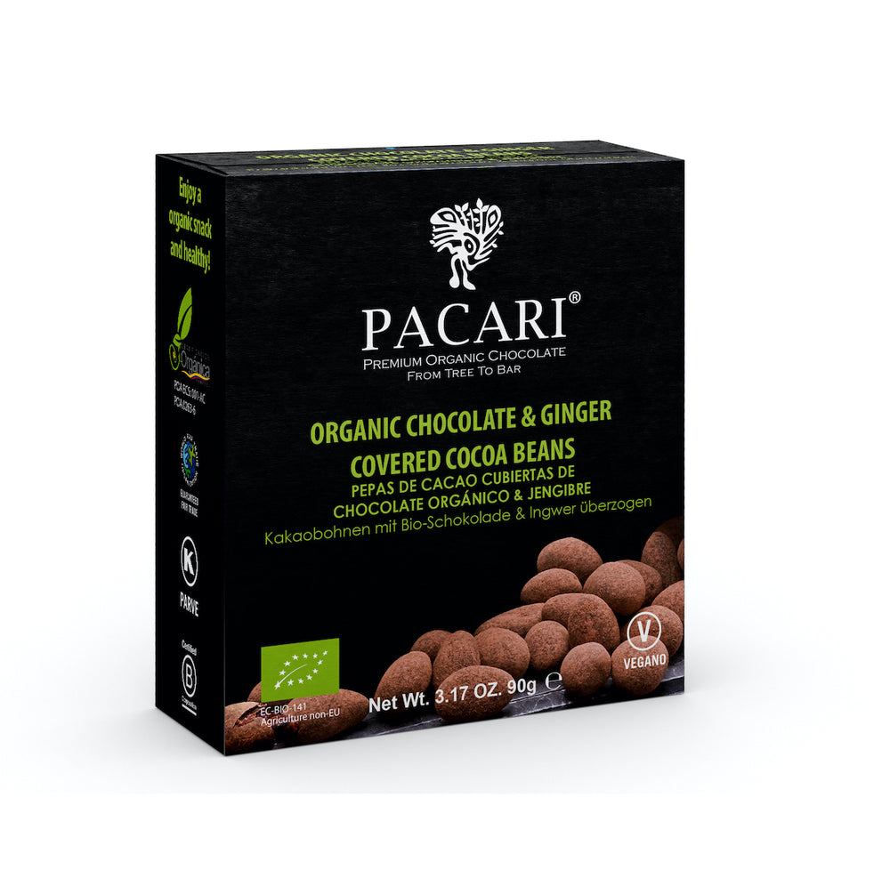Organic Chocolate Covered Cacao Beans Ginger