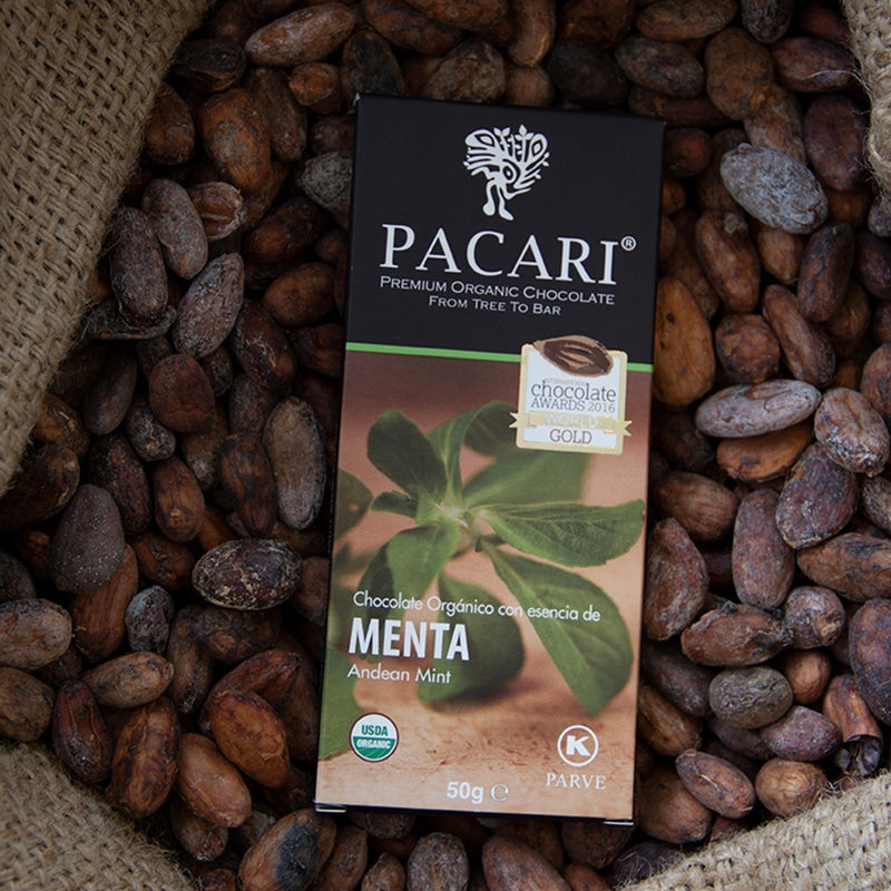 Andean Mint chocolate, organic, vegan, palm oil free, soy free, gluten free, kosher.