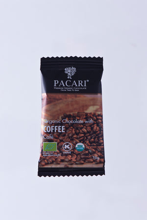Organic Chocolate with Espresso Coffee beans mini bar, 10g