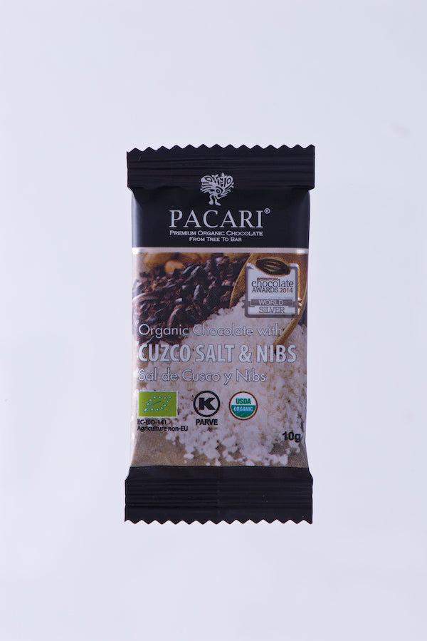 Organic Chocolate with Cuzco pink Salt and Cacao Nibs mini bar, 10g