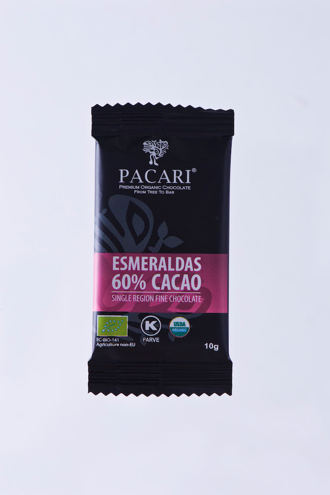 Organic Chocolate 60% cacao, Esmeraldas Single Origin mini bar, 10g