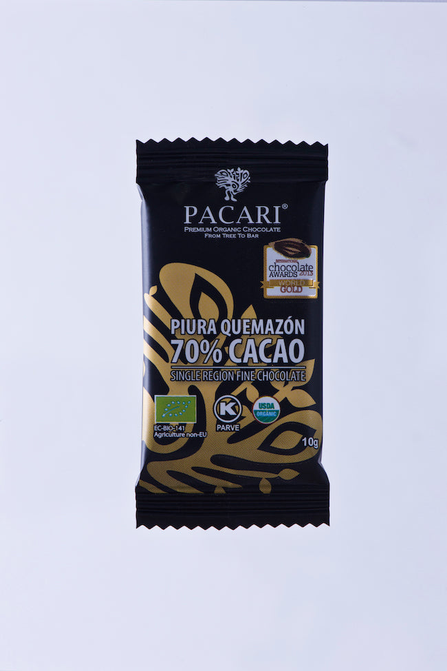DISPLAY Mini Bars Organic Chocolate 70% Piura Quemazon