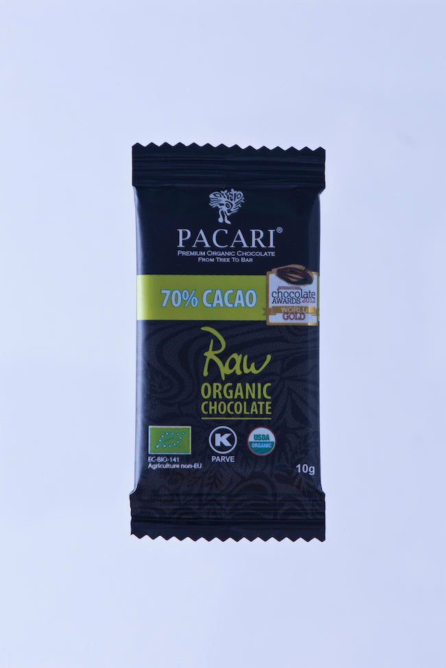 Organic Raw Chocolate 70% cacao, mini bar, 10g