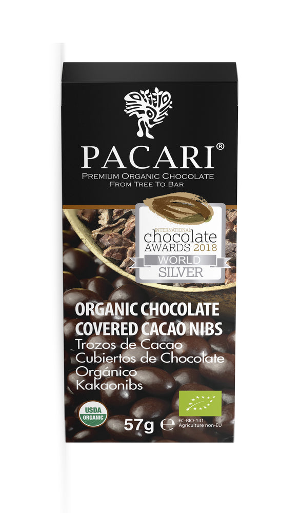 Organic Chocolate Covered Cacao Nibs, organic, vegan, palm oil free, soy free, gluten free, kosher.