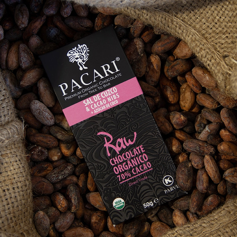 Raw Organic Chocolate 70% Cacao with Salt & Nibs and Coconut Sugar