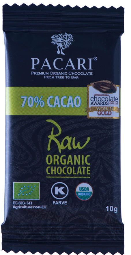 DISPLAY Mini Bars Organic Chocolate Raw 70%