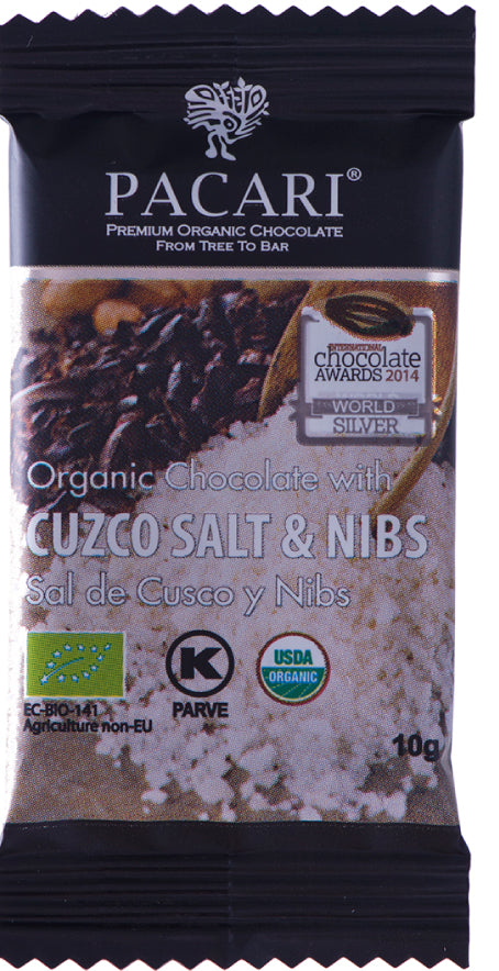 DISPLAY Mini Bars Organic Chocolate Cuzco Pink Salt  & Nibs