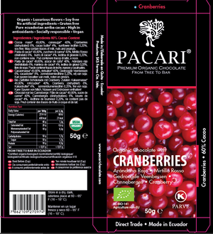 Cranberry Dark Chocolate Bar Packaging | Pacari UK