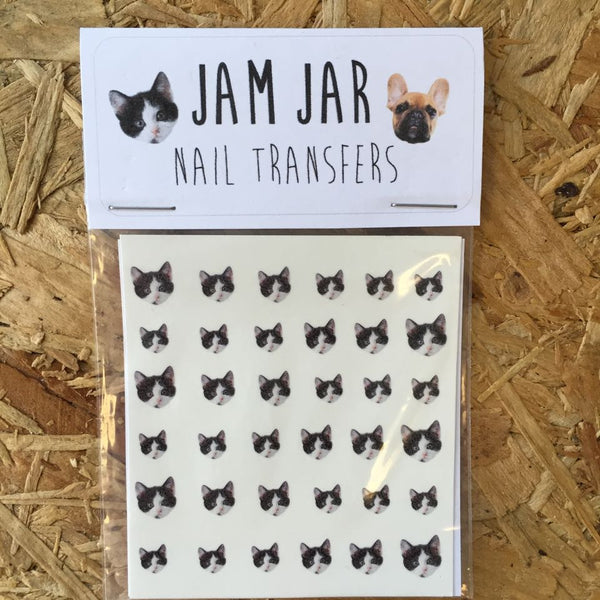 Black & White Cats Nail Transfers