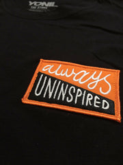 """Always Uninspired"" Patch T-Shirt (Black) T-shirts- YONIL 