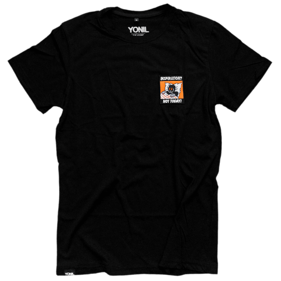 """Inspiration? Not Today!"" Patch T-Shirt (Black) T-shirts- YONIL 
