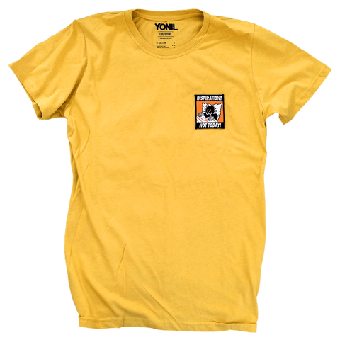 """Inspiration? Not Today!"" Patch T-Shirt (Yellow) T-shirts- YONIL 