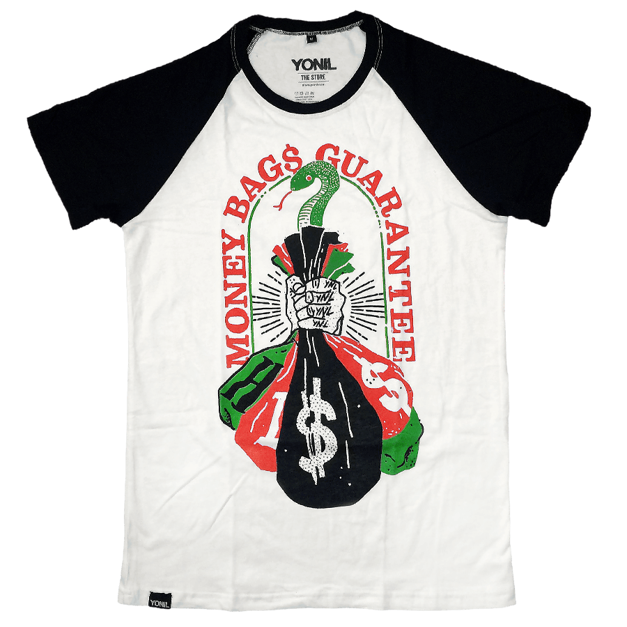 """Money Bags"" Raglan T-Shirt T-shirts- YONIL 