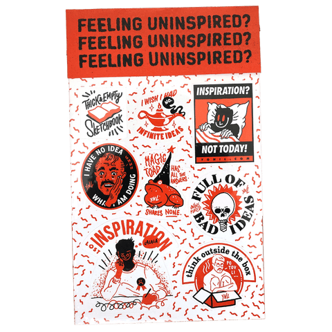 """Feeling Uninspired?"" Sticker Sheet Print- YONIL 