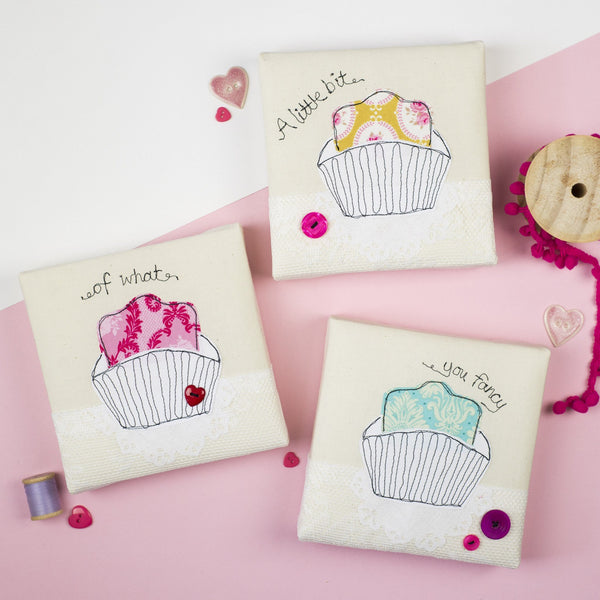 Rachel & George Canvas Artwork Fondant Fancy Set of Three Embroidery Canvases