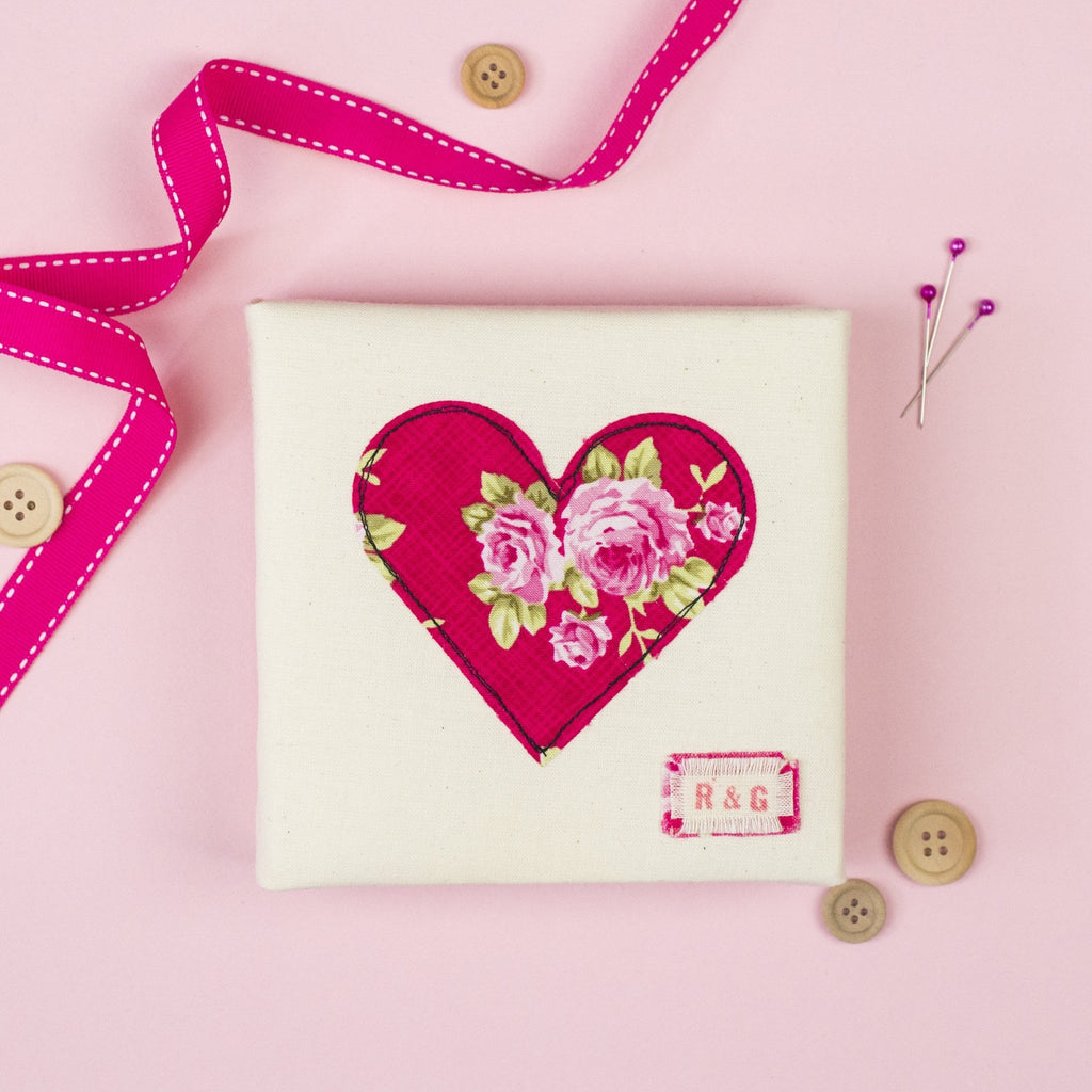Rachel & George Canvas Artwork Personalised Mini Heart Canvas