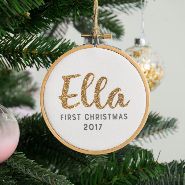 Rachel & George Christmas Decoration Baby's First Christmas Gold Glitter Name Bauble