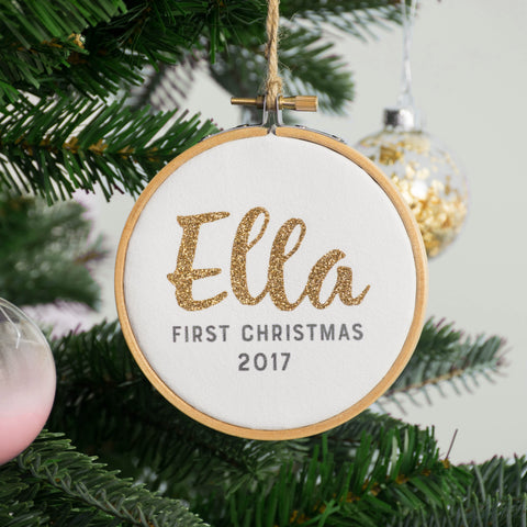 Baby's First Christmas Gold Glitter Name Bauble