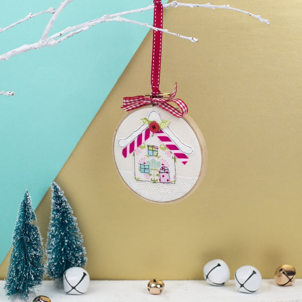 Rachel & George Christmas Decoration Christmas Cottage Embroidery Hoop Bauble